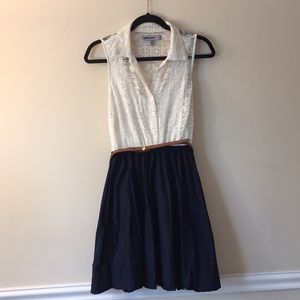 White and Navy Dress with Belt (size M)